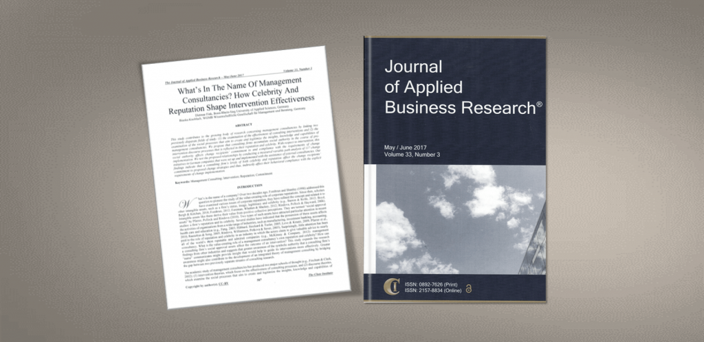 Artikel im Journal of Applied Business Research